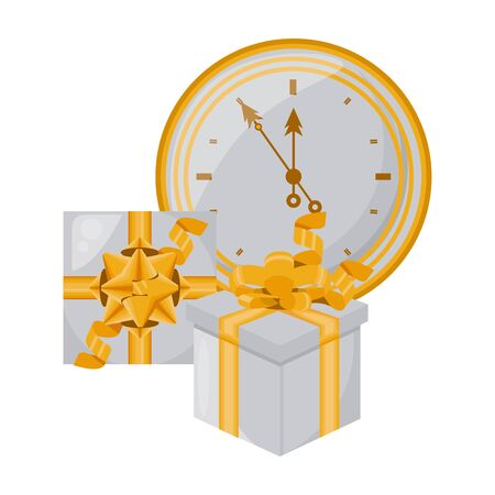 gift box present with time clock watch vector illustration design Ilustrace
