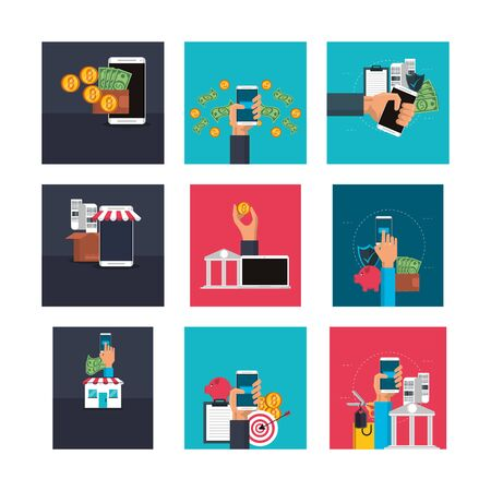 bundle of electronic commerce icons vector illustration design