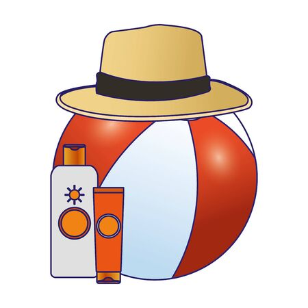 beach ball with hat and sunblocks bottles over white background, vector illustration