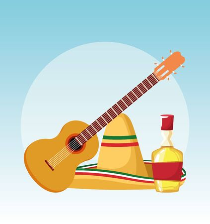 Mexican guitar hat and tequila design, Mexico culture tourism landmark latin and party theme Vector illustration Stok Fotoğraf - 137891803