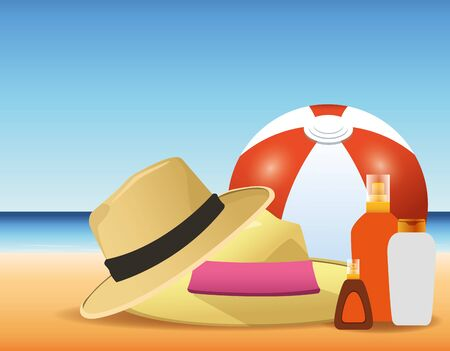 summer time in beach ball hats sunblocks bottles sand vacations vector illustration