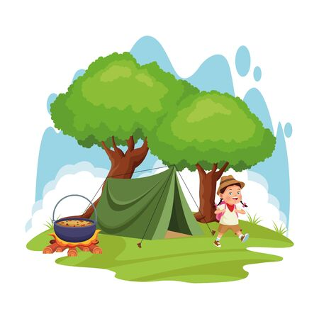 cartoon explorer girl in a camp with tent and bonfire with pot over white background, colorful design , vector illustration Stock fotó - 137891981