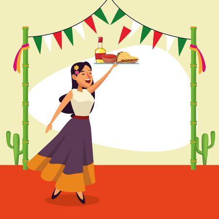 Mexican woman design, Mexico culture tourism landmark latin and party theme Vector illustration