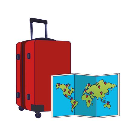 world map and travel luggage over white background, vector illustration
