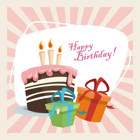 happy birthday celebration party sweet cake with candles and gift boxes vector illustration