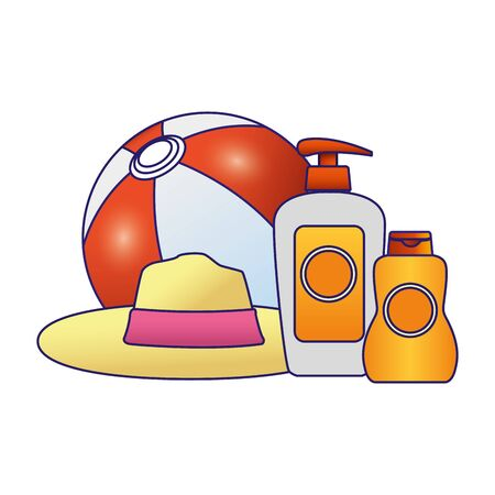 beach ball and hat with sunblock bottles icon over white background, vector illustration