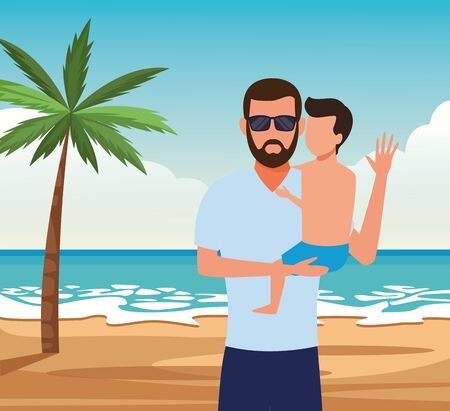 avatar man with a little boy on his arms at the beach, colorful design. vector illustration Ilustrace
