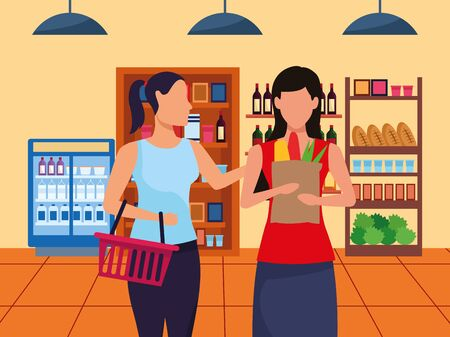 avatar women at supermarket aisle with stands with groceries, colorful design , vector illustration