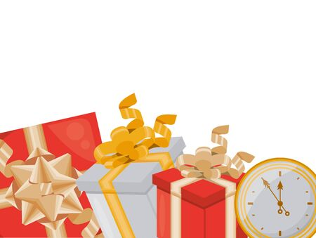 gifts boxes presents with time clock vector illustration design