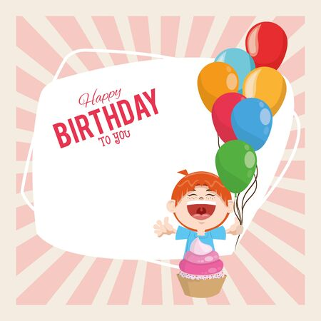 happy birthday celebration party cute boy with balloons and sweet cupcake vector illustration