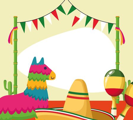 Mexican pinata and hat design, Mexico culture tourism landmark latin and party theme Vector illustration Ilustrace