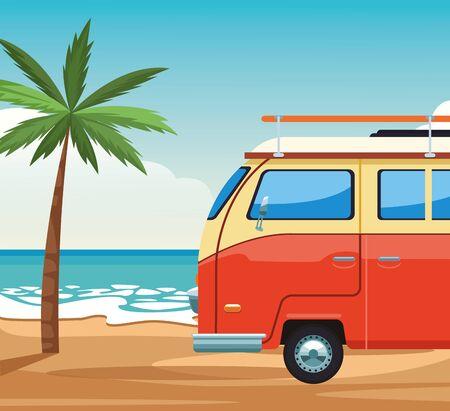 beach colorful design with travel van, summer vacations design. vector illustration Illustration