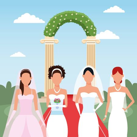 brides standing over wedding floral arch and lanscape background, colorful design, vector illustration