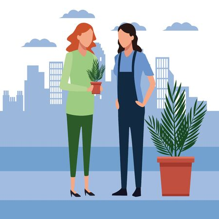 Avatar woman holding a plant pot and woman standing over blue city urban background, colorful design, vector illustration Stock fotó - 137892355