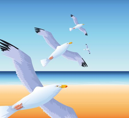 summer time in beach vacations flying seagulls over sea vector illustration