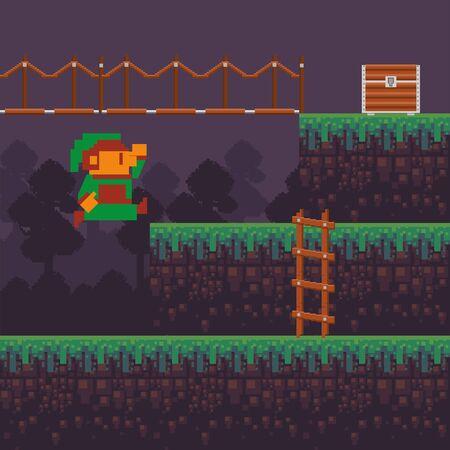 video game little elf in pixelated scene vector illustration design Ilustração
