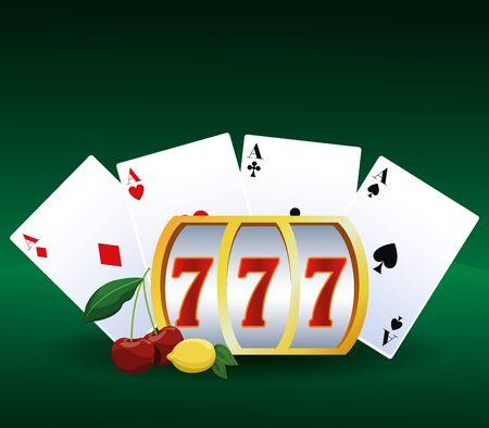 poker aces cards slot machine betting game gambling casino vector illustration