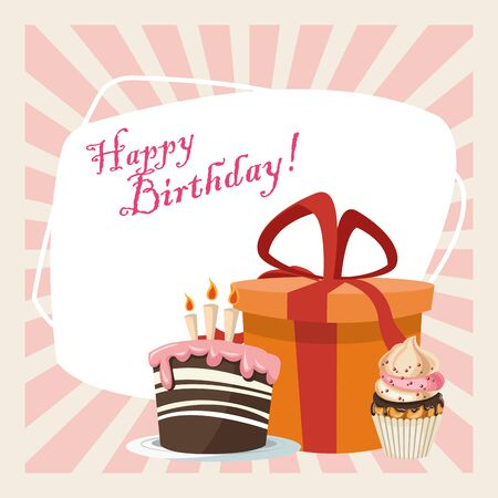 happy birthday celebration party sweet cake cupcake and gift box vector illustration Ilustração