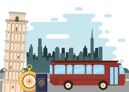 world travel scene with bus and passport icons vector illustration design