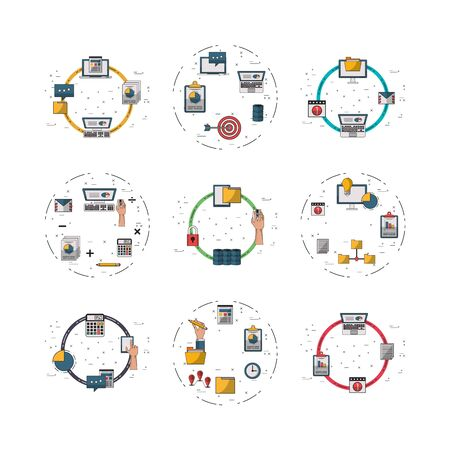 bundle of electronics devices and infocharts icons vector illustration design Ilustracja