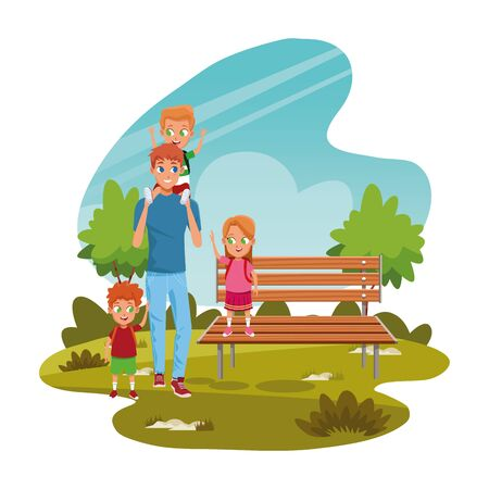 happy man with kids in the park with bench over white background, colorful design, vector illustration