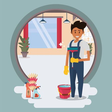 man worker in housekeeping with glass clean equipment vector illustration design