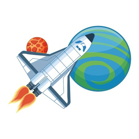 spaceship with space planets icon over white background, vector illustration Ilustração
