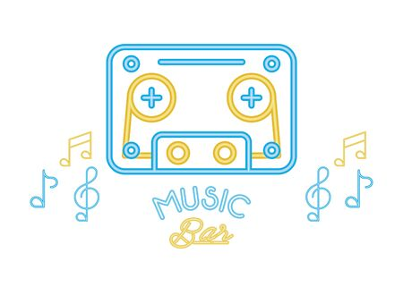 cassette retro audio with music lettering vector illustration design