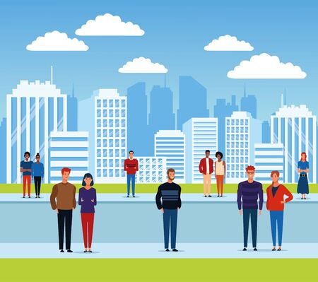 People in the city park scenery cartoons vector illustration graphic design Illusztráció