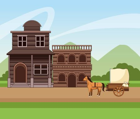 Western town design with wooden buildings and horses carriage over landscape background, colorful design, vector illustration 向量圖像