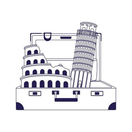 travel suitcase with italian landmarks over white background, vector illustration  イラスト・ベクター素材