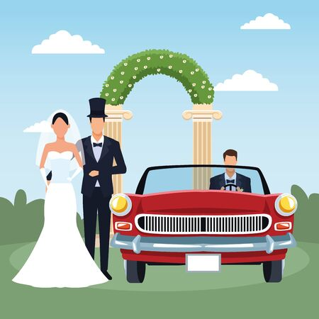 Elegant just married couple and red classic car, colorful design, vector illustration Stock fotó - 137894761
