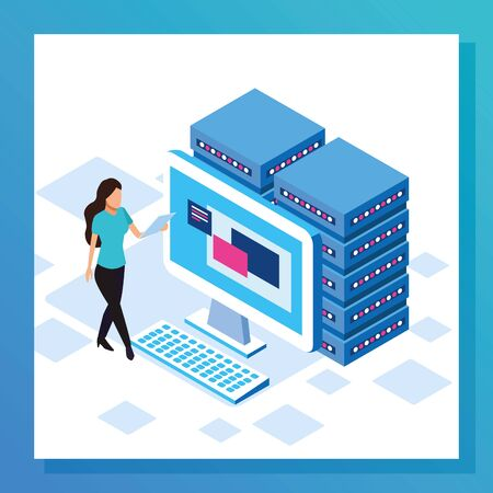 avatar woman with data center and computer over white background, colorful design, vector illustration Stock fotó - 137894788