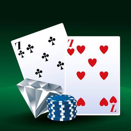 poker cards diamond chips betting game gambling casino vector illustration Çizim