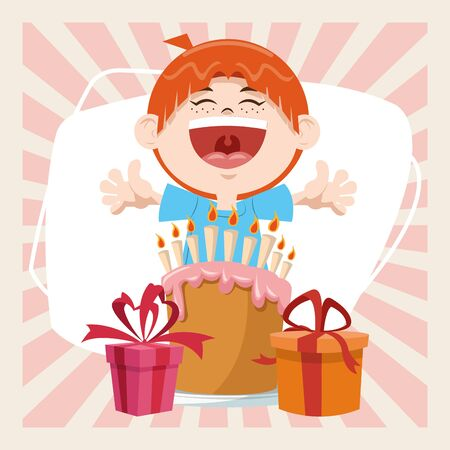 happy birthday celebration party smiling boy with sweet cake and gifts boxes vector illustration Ilustração