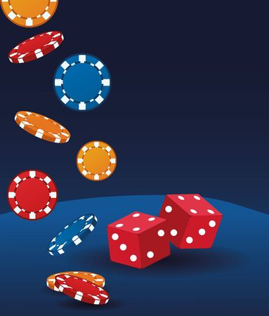 dices and chips betting game gambling casino vector illustration