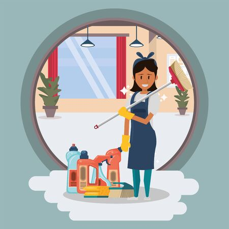 woman worker housekepping with equipment vector illustration design Stock fotó - 137894602