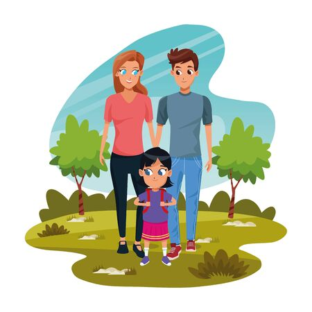 Cartoon happy couple with little girl in the park over white background, colorful design, vector illustration