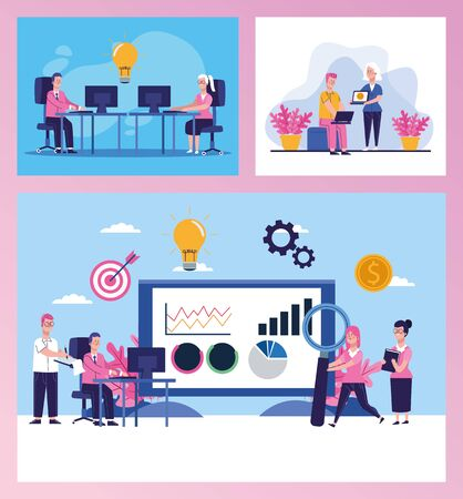 bundle of elegant business people scenes vector illustration design Illusztráció