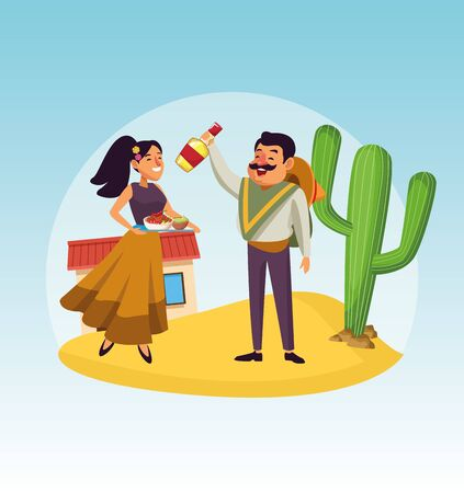 Mexican man and woman design, Mexico culture tourism landmark latin and party theme Vector illustration Ilustrace