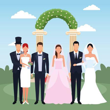 Just married couples standing over floral weding arch and landscape background, colorful design, vector illustration Illusztráció