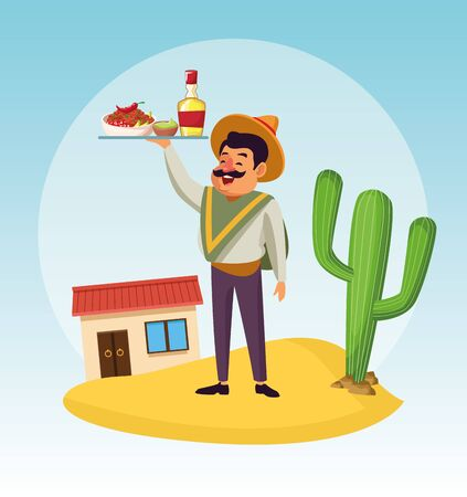 Mexican man design, Mexico culture tourism landmark latin and party theme Vector illustration