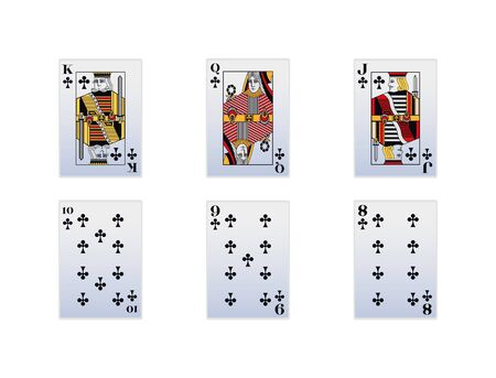 Cards of Club suit icon set over white background, vector illustration