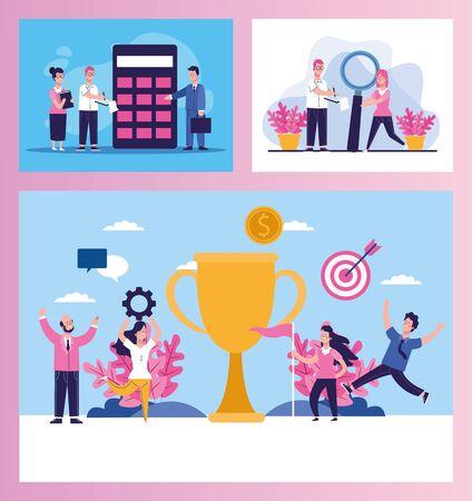 bundle of elegant business people scenes vector illustration design Stock fotó - 137896692
