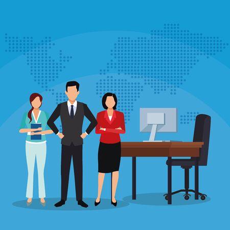 businesswomen businessman office desk computer success start up business vector illustration