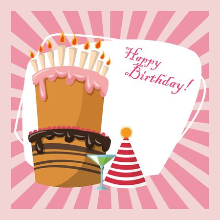 happy birthday celebration party sweet cake hat and cocktail vector illustration