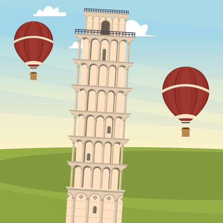 world travel scene with pisa tower vector illustration design
