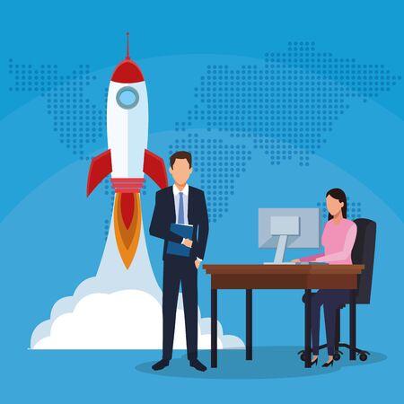 businessman businesswoman working computer rocket success start up business vector illustration Stock fotó - 137896704