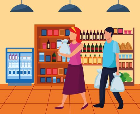 avatar woman and man with bags walking at supermarket aisle, colorful design , vector illustration