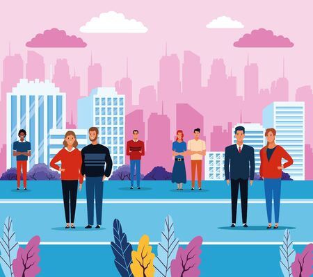 People in the city park scenery cartoons vector illustration graphic design Stock fotó - 137896913